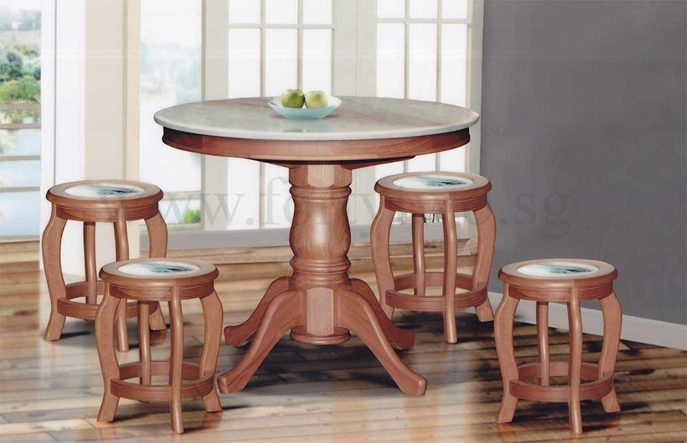 Dn888 Round Marble Dining Table (3Ft) + 4 Stools (Marble Seat Top For 3Ft Dining Tables (View 6 of 25)