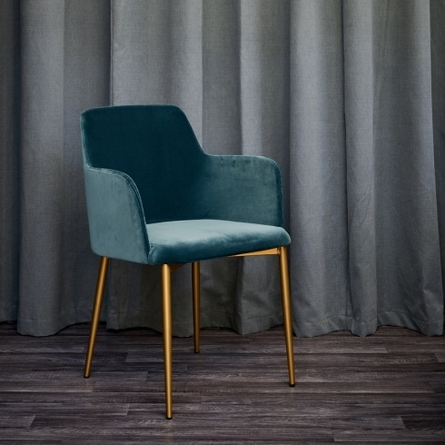 Dolce Teal Velvet & Brass Dining Chair, Modern Throughout Velvet Dining Chairs (Image 11 of 25)