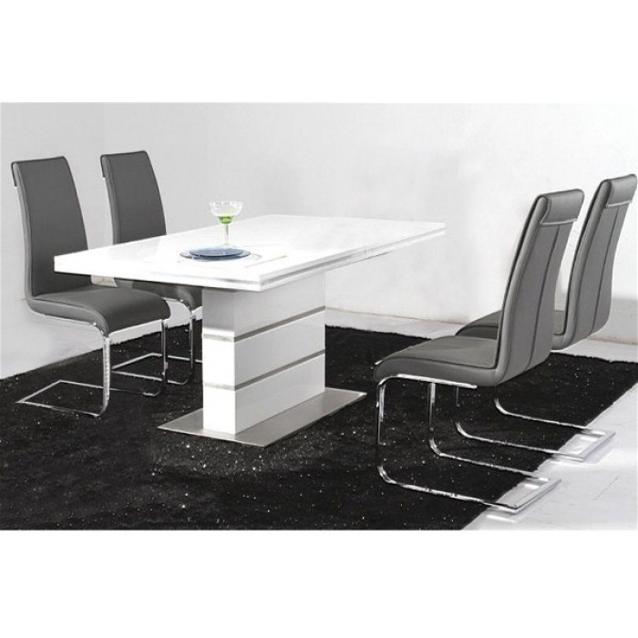 Dolores High Gloss Dining Table +4 Chairs Pertaining To High Gloss Dining Tables And Chairs (Image 7 of 25)