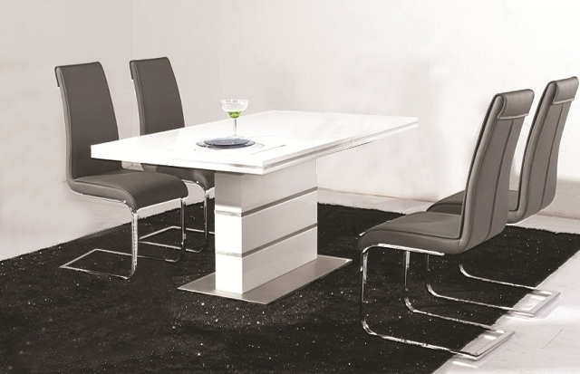 Dolores High Gloss Dining Table 4 Faux Leather Chrome Chairs Intended For Chrome Dining Tables (View 4 of 25)