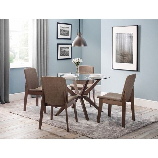 Domino Glass Dining Table Round In Clear With 4 Dining With Clear Glass Dining Tables And Chairs (Image 11 of 25)