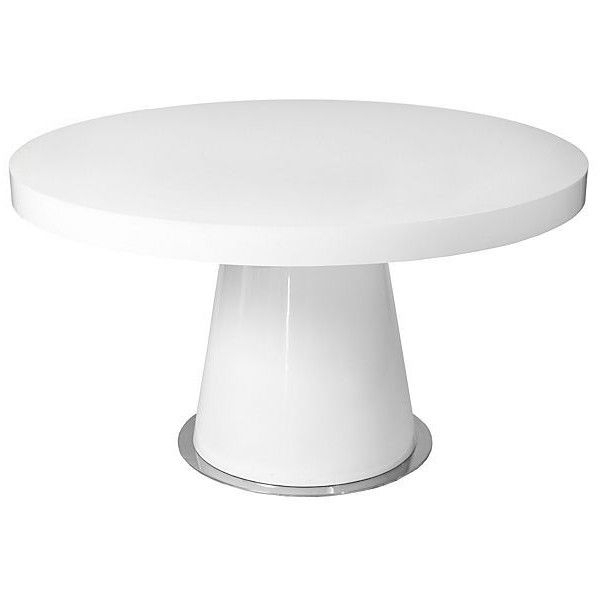 """Donald 53"""" Round Dining Table White Lacquer ($849) Via Polyvore Within White Circle Dining Tables (Image 7 of 25)"""