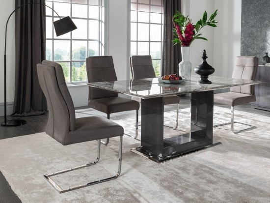 Donatella Raphael 180Cm Grey Marble Dining Table + 6 Chairs Dta 180 Pertaining To 180Cm Dining Tables (Image 7 of 25)
