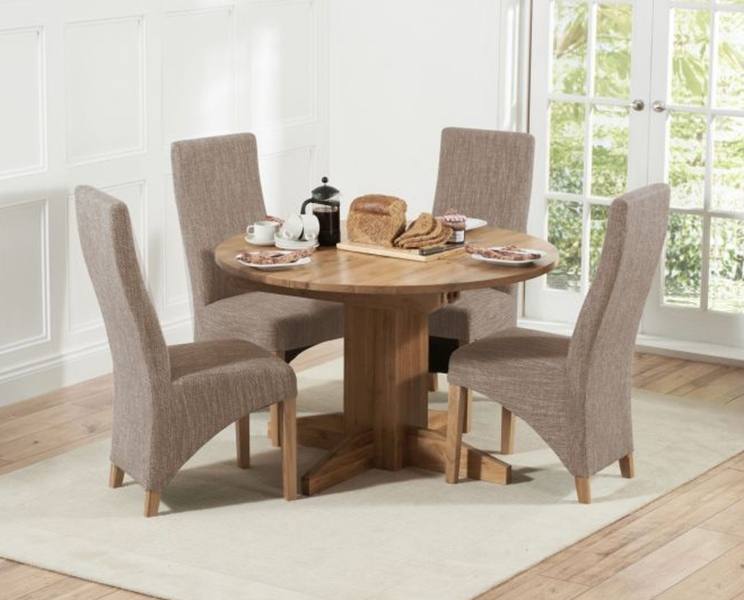 Dorchester 120Cm Solid Oak Round Extending Dining Table With Henley Regarding Round Oak Extendable Dining Tables And Chairs (Image 4 of 25)