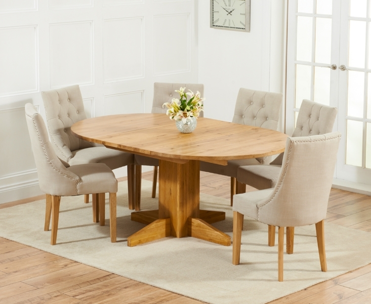 Dorchester 120Cm Solid Oak Round Extending Dining Table With Pacific Intended For Oak Dining Tables And Fabric Chairs (Image 10 of 25)
