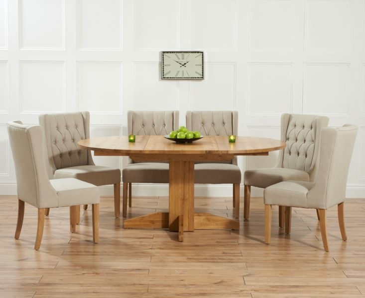 Dorchester 120Cm Solid Oak Round Extending Dining Table With Safia Intended For Round Extending Oak Dining Tables And Chairs (Image 5 of 25)