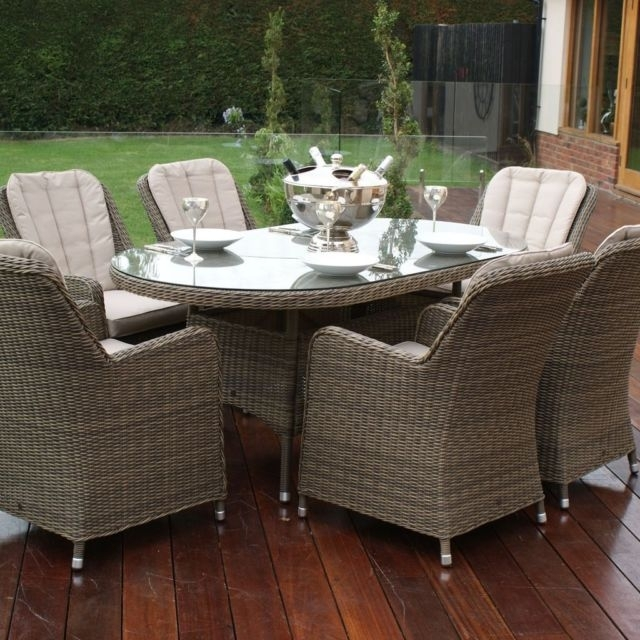 Dorchester Rome Rattan Garden Furniture Oval 6 Seater Dining Table With Regard To Roma Dining Tables And Chairs Sets (Image 6 of 25)