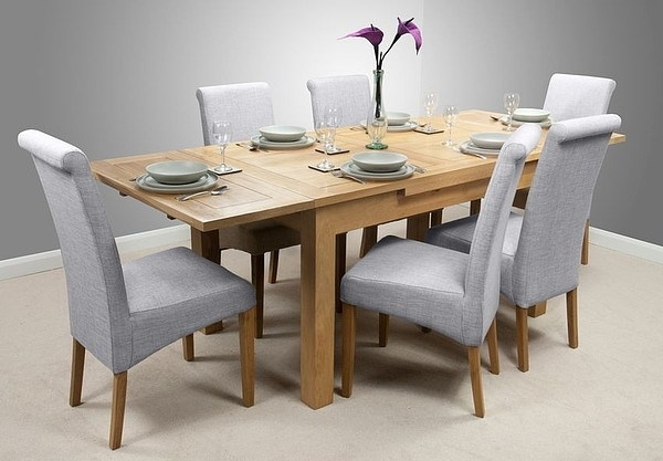 Dorset 4Ft 7″ X 3Ft Solid Oak Extending Dining Table + 6 Light Grey With Light Oak Dining Tables And 6 Chairs (View 10 of 25)
