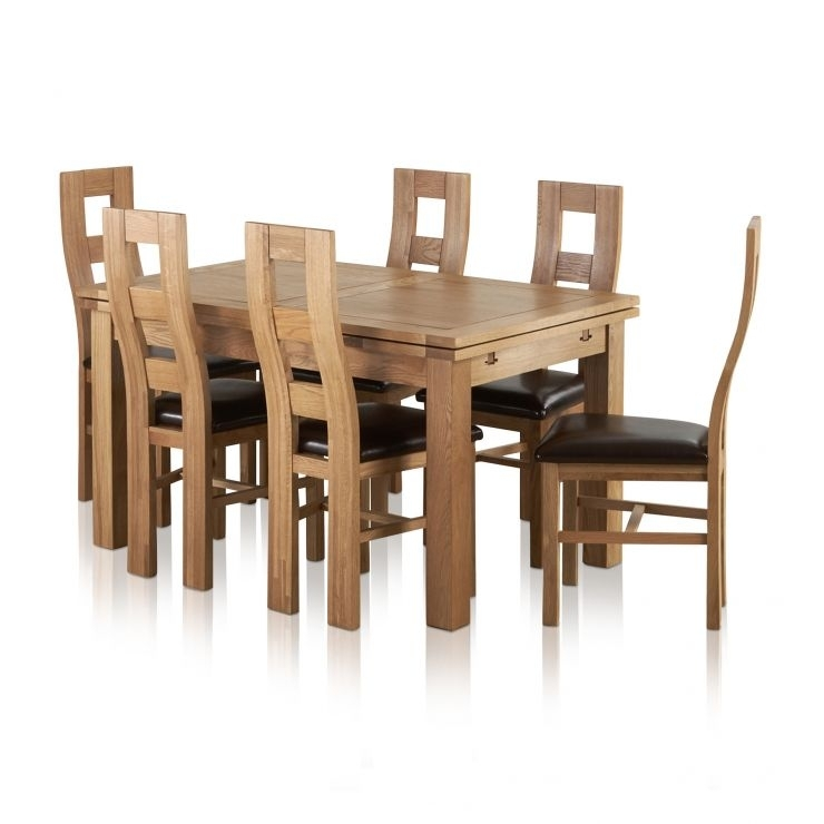Dorset Dining Set: Extending Oak Table + 6 Leather Dining Chairs Regarding Oak Dining Tables And Leather Chairs (Image 5 of 25)