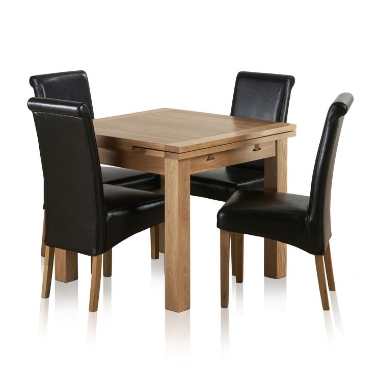Dorset Dining Set In Oak: Extending Dining Table + 4 Leather Chairs In Oak Extending Dining Tables And 4 Chairs (Image 5 of 25)