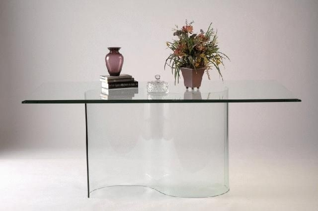 Double Curved All Glass Dining Table Base | Dining Table Bases with regard to Curved Glass Dining Tables