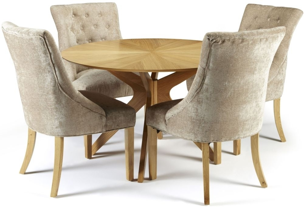 Douglas Oak Round Dining Set With 4 Hampton Mink Fabric Chairs With Regard To Fabric Dining Chairs (View 11 of 25)