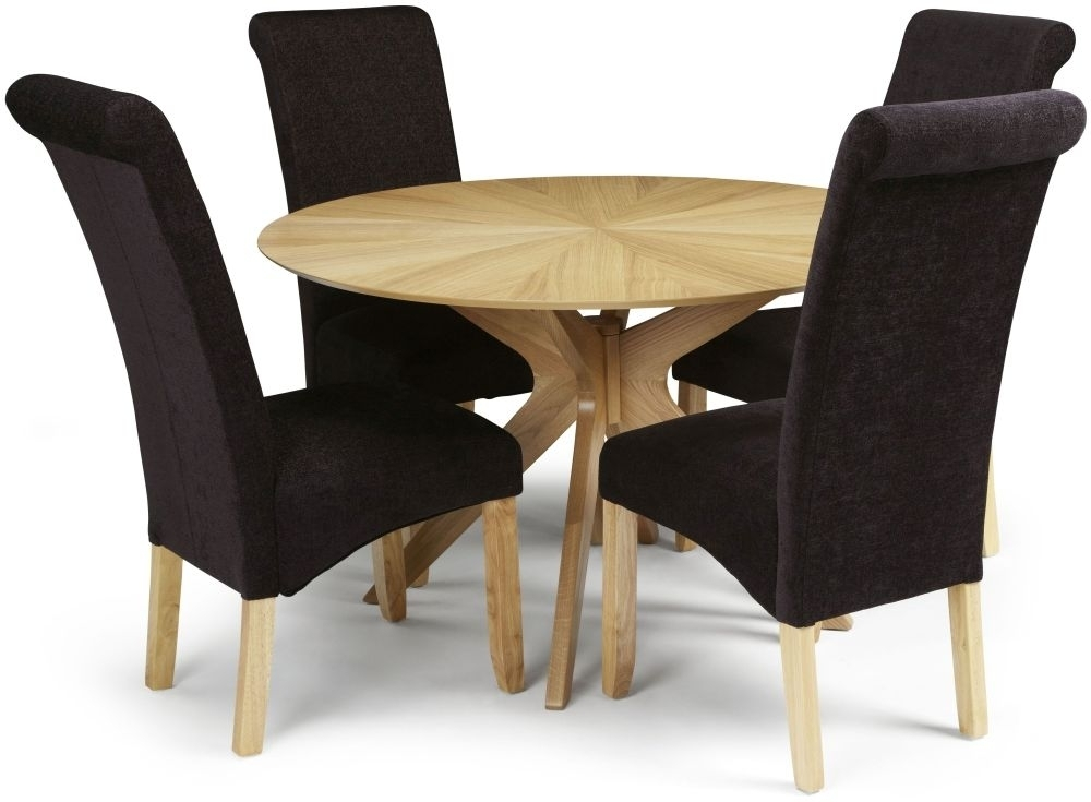 Douglas Oak Round Dining Set With 4 Kingston Aubergine Plain Fabric Intended For Oak Fabric Dining Chairs (View 20 of 25)