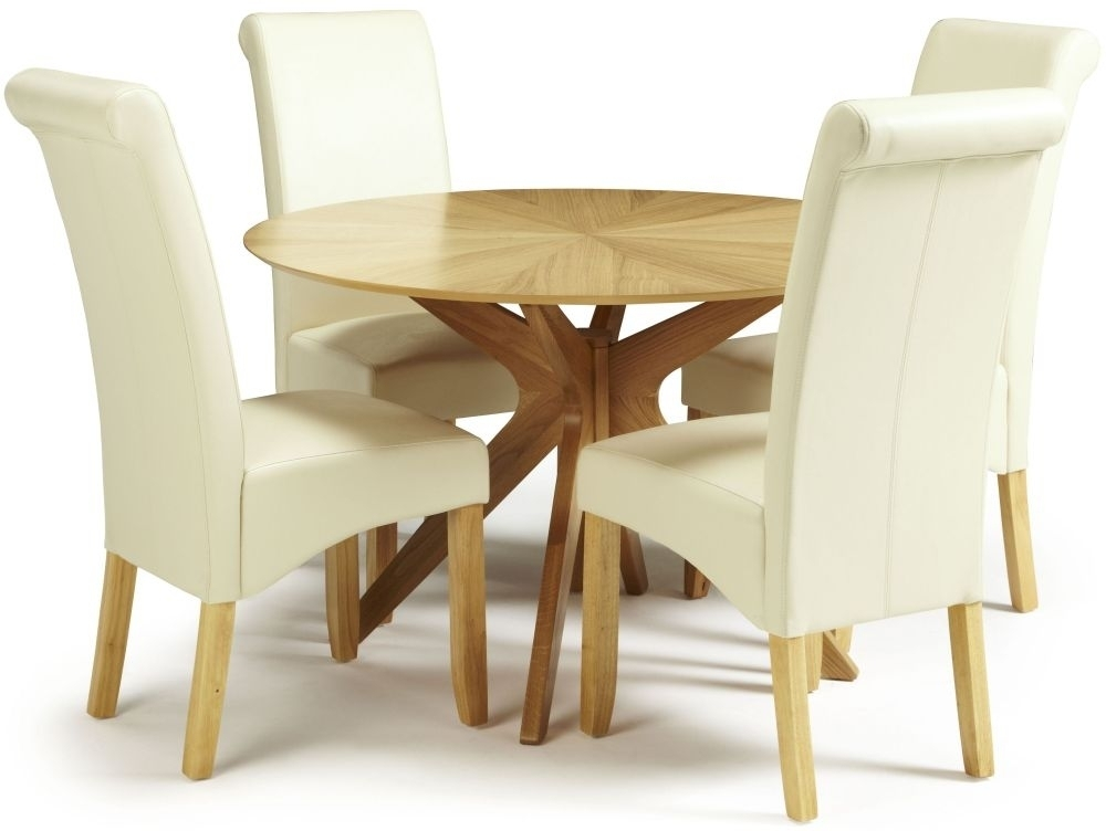 Douglas Oak Round Dining Set With 4 Kingston Cream Faux Leather In Cream Faux Leather Dining Chairs (Image 11 of 25)