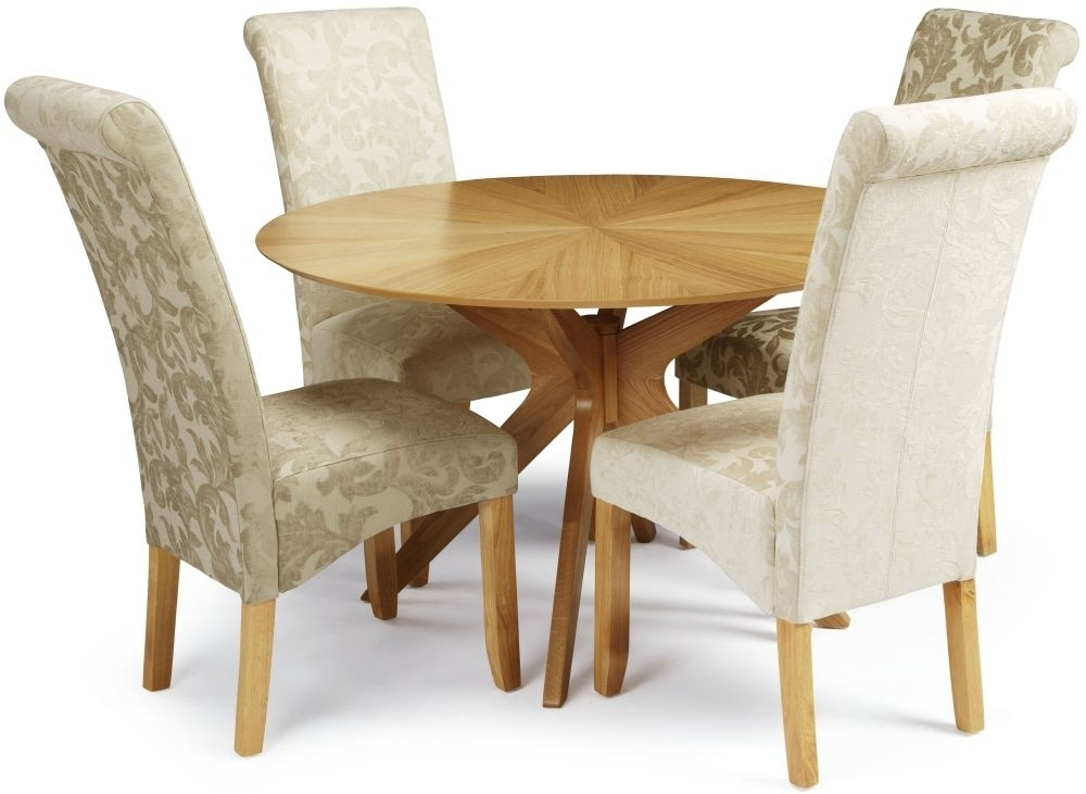 Douglas Oak Round Dining Set With 4 Kingston Sage Floral Fabric With Regard To Fabric Dining Chairs (View 14 of 25)