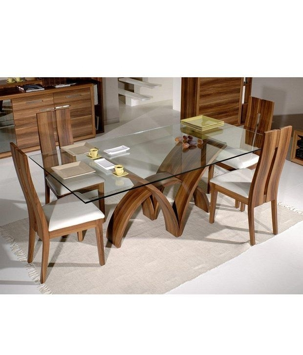 Dream Furniture Teak Wood 6 Seater Luxury Rectangle Glass Top Dining Throughout 6 Seater Glass Dining Table Sets (Image 15 of 25)