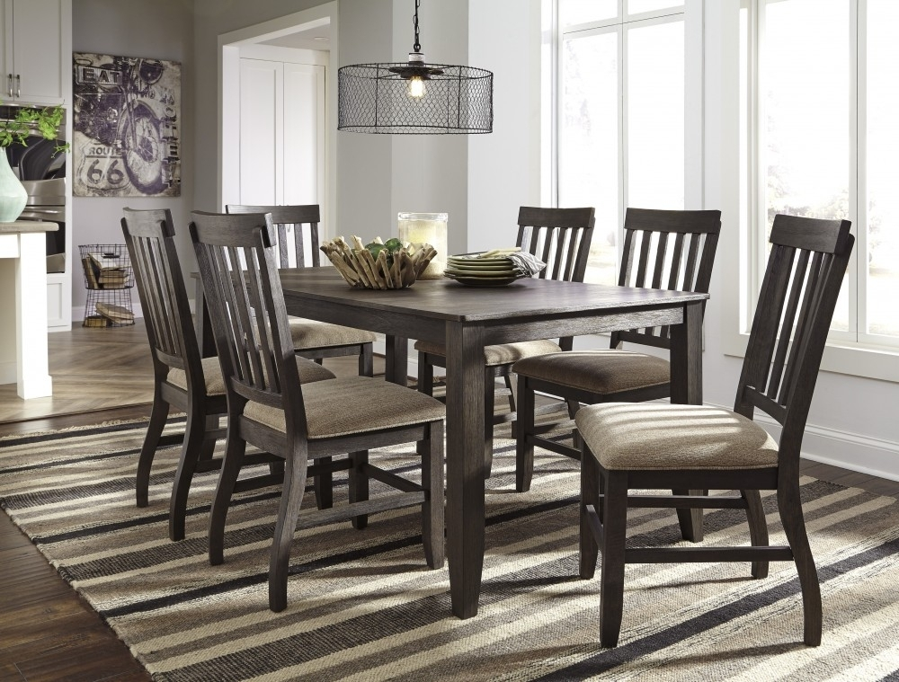 Dresbar – Grayish Brown – Rectangular Dining Room Table & 6 Uph Side With Regard To Market 6 Piece Dining Sets With Side Chairs (Image 12 of 25)