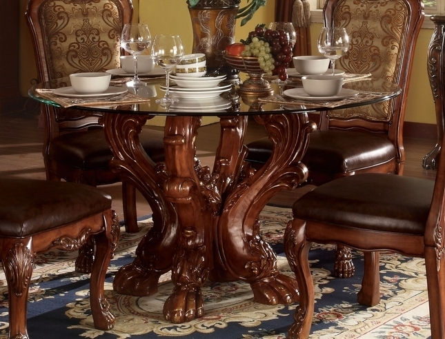 "Dresden Formal Carved Wood 54"" Round Glass Top Dining Table In Pertaining To Glass Top Oak Dining Tables (View 22 of 25)"