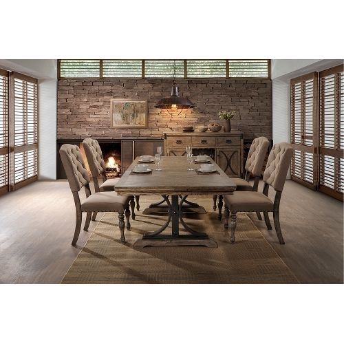 Driftwood 5 Piece Dining Set With Tufted Chairs – Metropolitan For Caden 7 Piece Dining Sets With Upholstered Side Chair (Image 10 of 25)