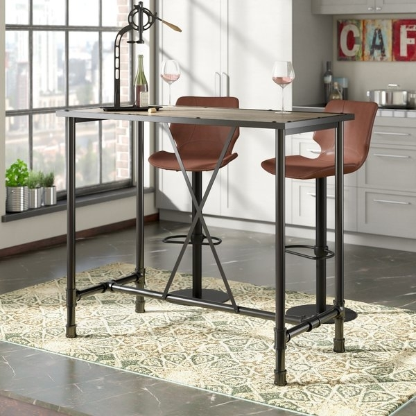 Driftwood Pub Table   Wayfair With Regard To Ina Pewter 60 Inch Counter Tables With Frosted Glass (Image 12 of 25)
