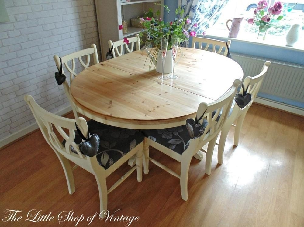 Ducal Solid Pine Extendable Kitchen Dining Table And 6 Chairs Shabby pertaining to Shabby Chic Cream Dining Tables And Chairs