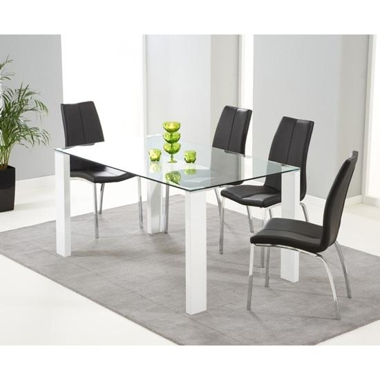Duke Rectangular Glass & White Gloss Dining Table   Fads Inside Glass And White Gloss Dining Tables (Image 5 of 25)