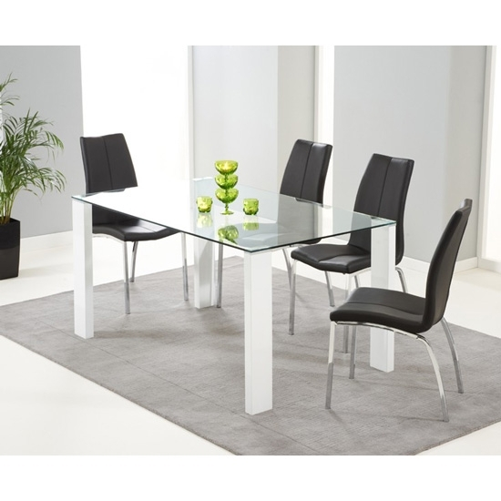 Duke Rectangular Glass & White Gloss Dining Table | Fads Inside Glass And White Gloss Dining Tables (View 24 of 25)