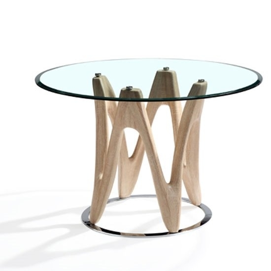 Dunic Glass Dining Table Round In Sonoma Oak And Chrome Throughout Glass Oak Dining Tables (Image 10 of 25)