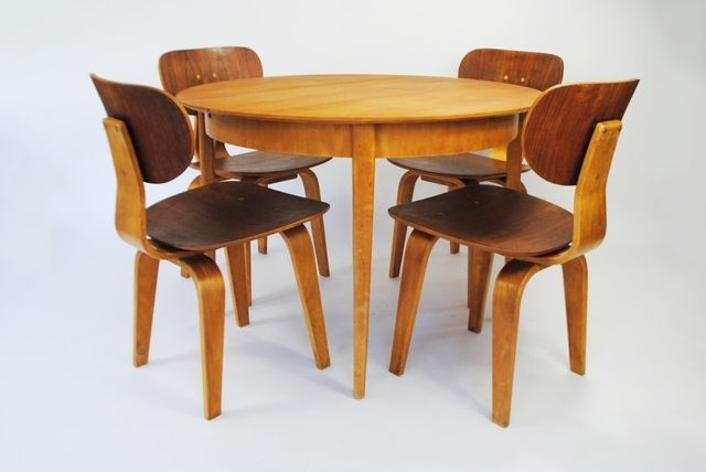 Dutch Birch Plywood And Teak Dining Setcees Braakman For Pastoe Pertaining To Helms 5 Piece Round Dining Sets With Side Chairs (View 6 of 25)