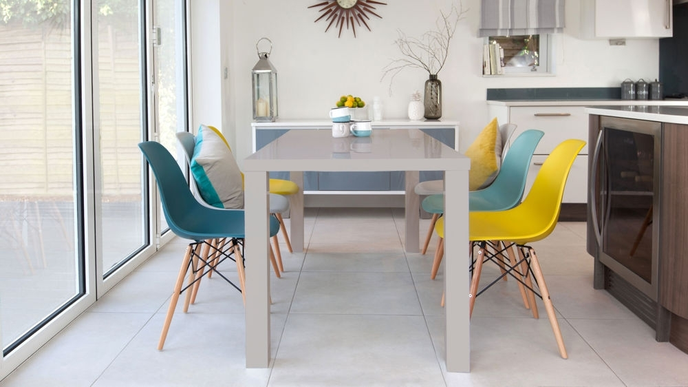 Eames Chairs And Grey Gloss 6 Seater Dining Set| Danetti Uk Intended For 6 Seat Dining Table Sets (View 13 of 25)