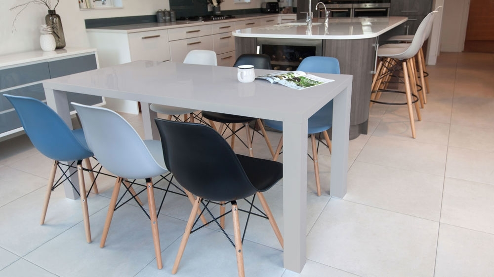 Eames Chairs And Grey Gloss 6 Seater Dining Set| Danetti Uk with Grey Gloss Dining Tables