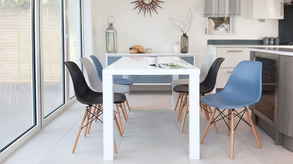 Eames Chairs And White Gloss 6 Seater Dining Set| Danetti Uk Pertaining To White Gloss Dining Chairs (Image 7 of 25)