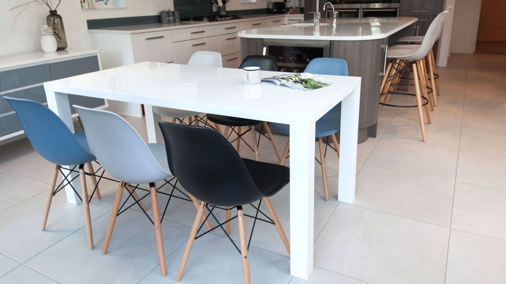 Eames Chairs And White Gloss 6 Seater Dining Set| Danetti Uk With White Dining Tables With 6 Chairs (Image 14 of 25)