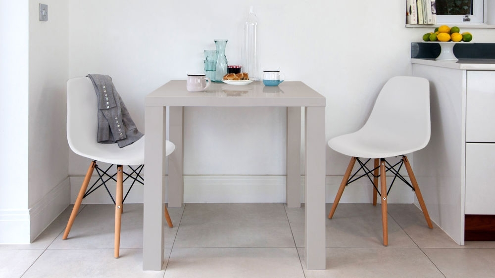 Eames Dining Set | Eames Replica | Grey Gloss Kitchen Table In Two Seat Dining Tables (Image 12 of 25)