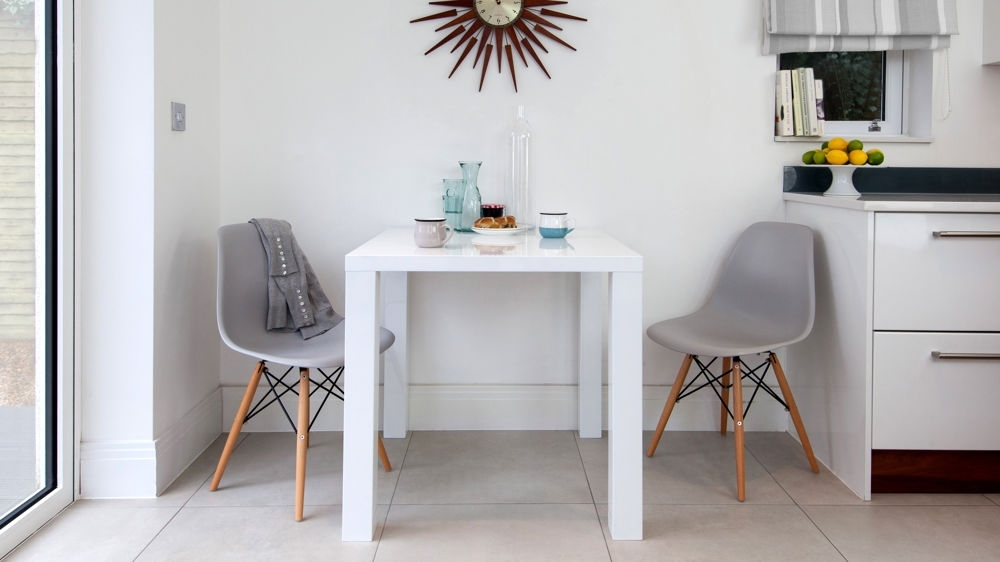 Eames Dining Set | Eames Replica | White Gloss Kitchen Table In Two Seater Dining Tables And Chairs (Image 15 of 25)