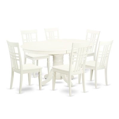 East West Furniture Avon Avlg7 Seven Piece Extension Dining Table For Craftsman 7 Piece Rectangle Extension Dining Sets With Uph Side Chairs (Image 7 of 25)