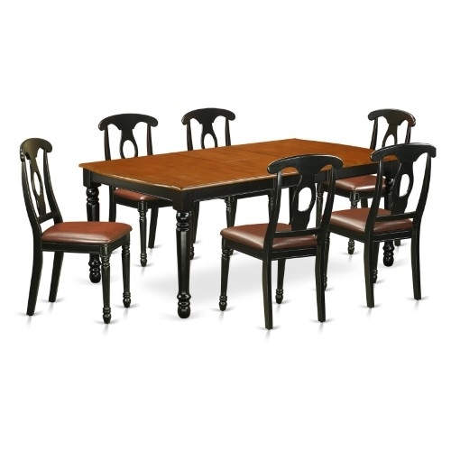 East West Furniture Dover Doke7 Seven Piece Extension Dining Table Pertaining To Cora 7 Piece Dining Sets (Photo 25 of 25)