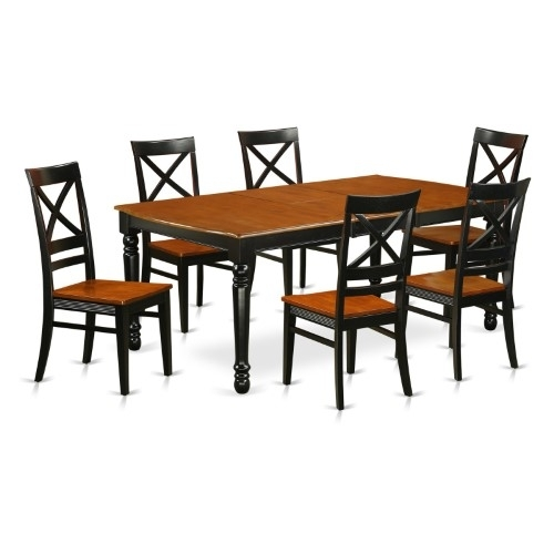 East West Furniture Dover Doqu7 Seven Piece Extension Dining Table In Market 7 Piece Counter Sets (View 16 of 25)