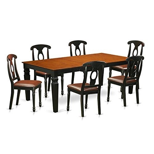 East West Furniture Lgke7 Bch Lc 7Piece Kitchen Table Set With One With Regard To Logan 7 Piece Dining Sets (View 12 of 25)