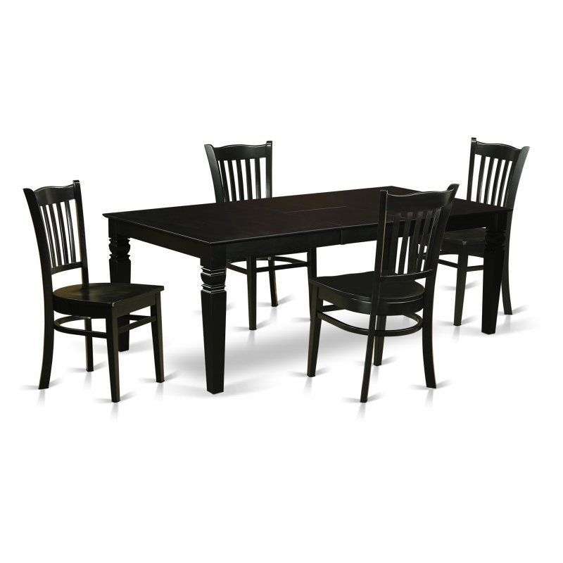 East West Furniture Logan 5 Piece Comb Back Dining Table Set - Lggr5 with Logan Dining Tables