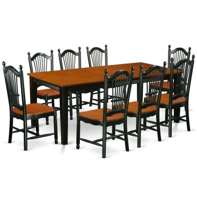 East West Furniture Quincy 9 Piece Rectangle Extending Dining Table Within Craftsman 7 Piece Rectangle Extension Dining Sets With Uph Side Chairs (Photo 21 of 25)