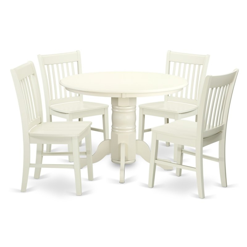 East West Furniture Shelton 5 Piece Dining Table Set With Wood Seat Throughout Jaxon 5 Piece Extension Counter Sets With Wood Stools (Image 12 of 25)