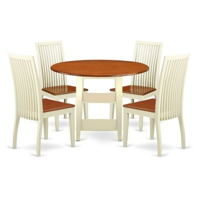 East West Furniture Sudbury 5 Piece Round Extending Dining Table Set Regarding Craftsman 5 Piece Round Dining Sets With Uph Side Chairs (View 25 of 25)