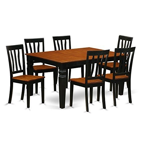 East West Furniture Weston Wean7 Bch W 7 Pc Set Table And 6 Wood Intended For Logan 6 Piece Dining Sets (Image 7 of 25)
