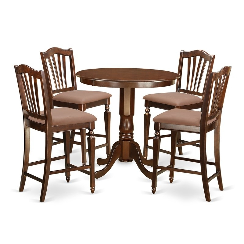 East West Jackson 5 Piece Counter Height Pub Table Set | Wayfair with Jaxon 5 Piece Extension Counter Sets With Fabric Stools