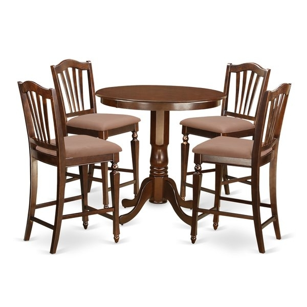 East West Jackson 5 Piece Counter Height Pub Table Set | Wayfair With Jaxon Grey 5 Piece Round Extension Dining Sets With Upholstered Chairs (View 13 of 25)