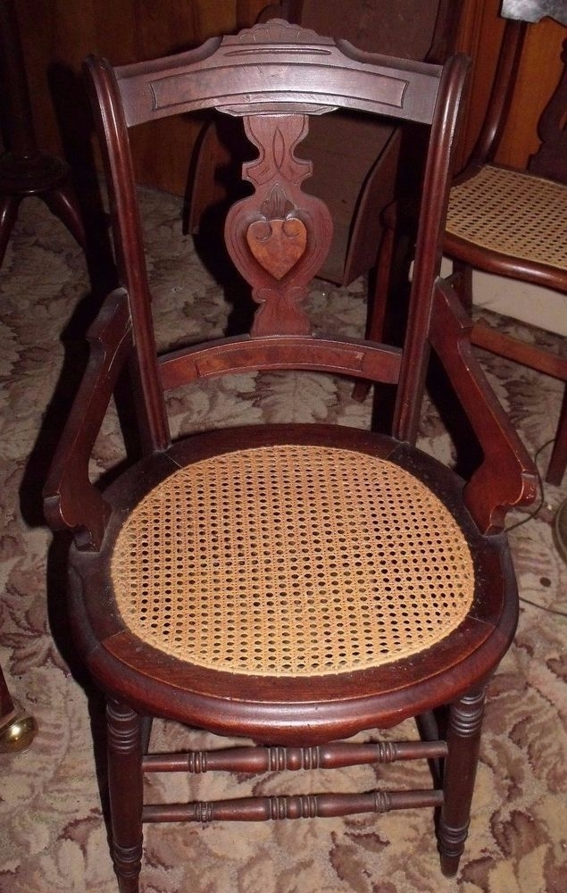 Eastlake Walnut Victorian Side Chair W Hand Caned Seat, Burle Wood Intended For Combs 5 Piece Dining Sets With  Mindy Slipcovered Chairs (Image 15 of 25)