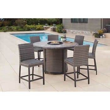 Eastport 7-Piece Bar Height Fire Chat Set | Costco | Pinterest inside Wyatt 7 Piece Dining Sets With Celler Teal Chairs