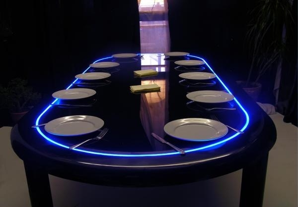 Eat Now, Poker Later: The Convertible Dining And Game Table With Regard To Dining Tables With Led Lights (Image 9 of 25)