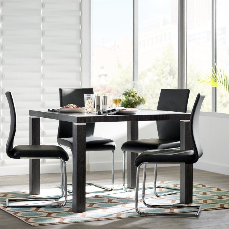 Ebern Designs Alva 5 Piece Dining Set & Reviews | Wayfair For Norwood 6 Piece Rectangular Extension Dining Sets With Upholstered Side Chairs (Image 5 of 25)